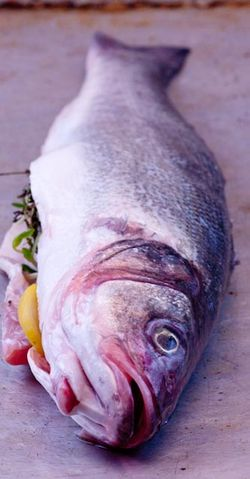 (a close-up of thyme and lemon stuffing, note the charred skin) FISH bass - ...