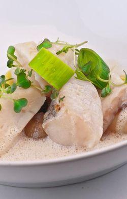 FISH chowder with almonds milk