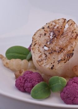 FISH scallops with pickled vegetables