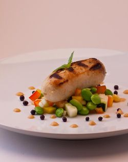 FISH sausage with succotash