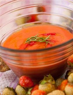 Gazpacho with strawberries