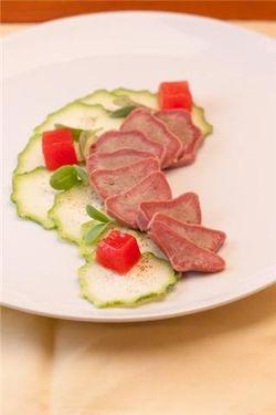 Zucchini and pork tongue