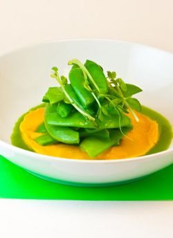 SPRING peas and carrot puree