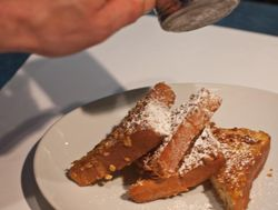FRENCH TOAST plates with powder sugar shaker