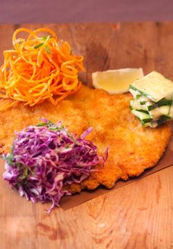 SCHNITZEL with tree salads
