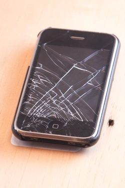 I-PHONE with broken front glass