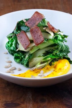 BOK CHOY w. sausage and egg