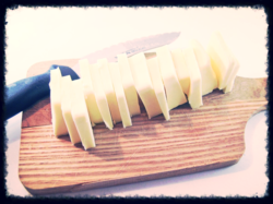 Butter sliced with knife