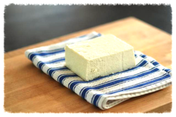 Tofu block on towel