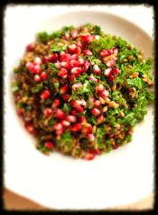 Danedelion green & pomegrante salad