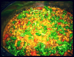 02 kitchari in a pot with herbs