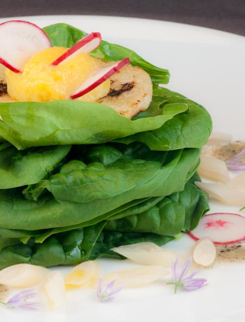 Egg-in-a-whole-salad with Yellow Garden Beans, Spinach and Preserved Truffle Vinaigrette
