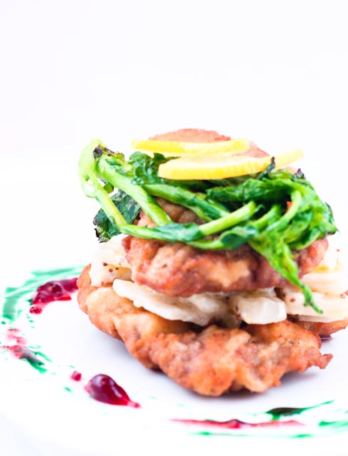 Lamb Schnitzel with Potato Confit Salad, Peppermint and Lingonberries