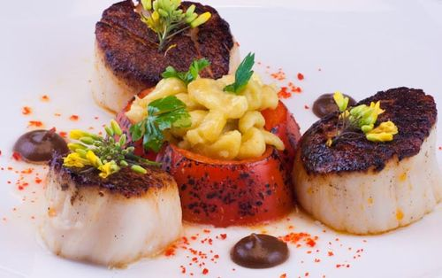 Sea Scallops & Spaetzel and Burned Onion Emulsion