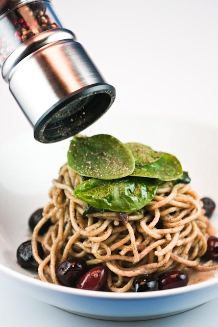 Smoked Linguini with Spanish Black Olives and Baby Spinach