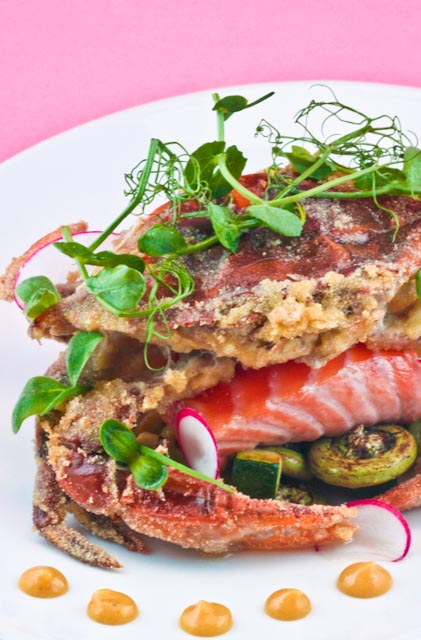 Soft-Shell Crab & Maine Salmon with Fiddlehead ferns, Yellow and Green Squash