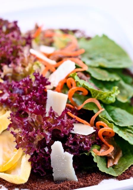 Spring Salad, Pumpernickel  Soil, Smoked Idiazabal Cheese